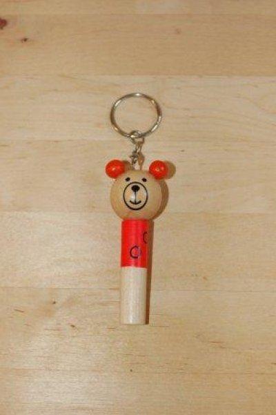 画像1: チェコ 木のおもちゃ ホイッスル アニマルキーホルダー