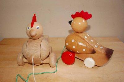画像1: チェコ 木のおもちゃ  プルトイ  にわとり ナチュラル