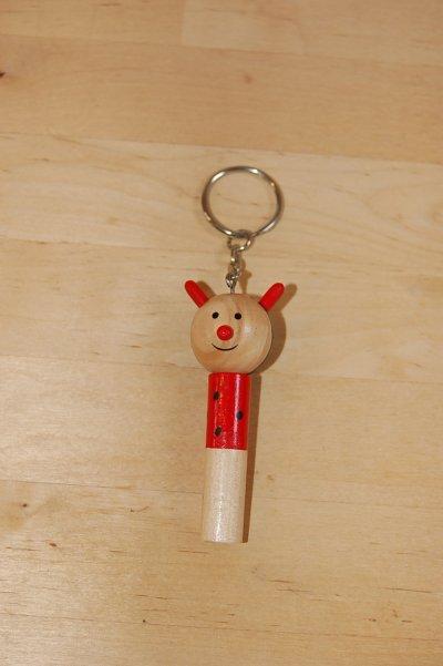 画像2: チェコ 木のおもちゃ ホイッスル アニマルキーホルダー